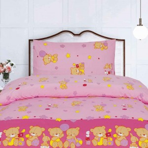 baby bear pink bed sheet